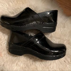 Dansko Patent Leather Black Clogs, 39